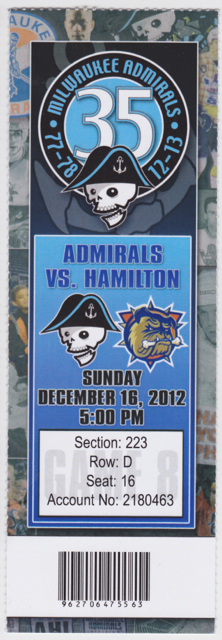 2012 Milwaukee Admirals ticket stub vs Hamilton for sale