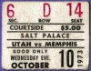 1973 Utah Stars ticket stub vs Memphis Tams