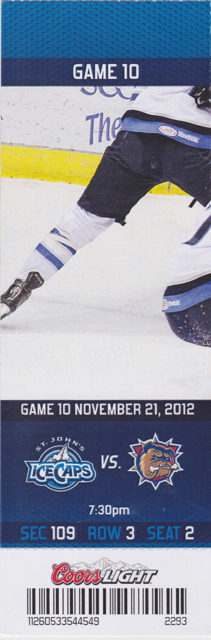 2012 AHL IceCaps ticket stub vs Bulldogs for sale