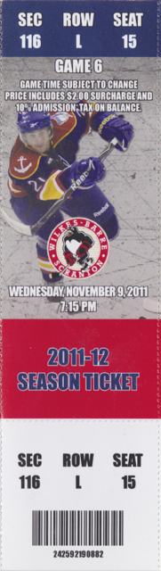 2011 AHL Norfolk Admirals ticket stub vs Penguins for sale