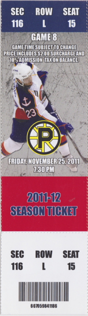 2011 AHL Norfolk Admirals ticket stub vs Providence for sale