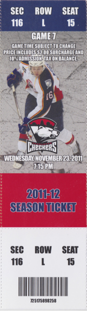 2011 AHL Norfolk Admirals ticket stub vs Charlotte for sale