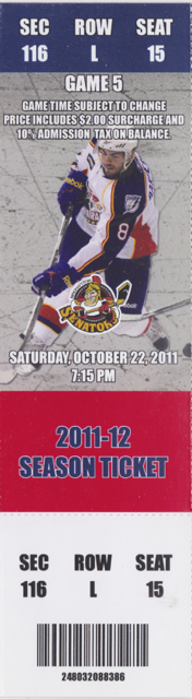 2011 AHL Norfolk Admirals ticket stub vs Binghamton for sale