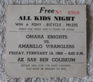1969 CHL AMARILLO WRANGLERS at OMAHA KNIGHTS stub
