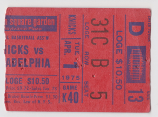 1975 New York Knicks ticket stub vs 76ers