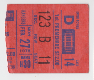 1978 New York Rangers ticket stub vs Atlanta Flames