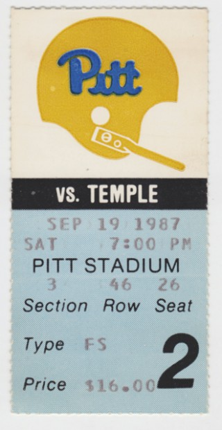 1987 NCAAF Temple at Pittsburgh stub
