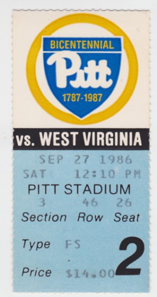 1986 NCAAF West Virginia at Pittsburgh stub
