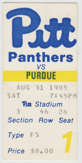 1985 NCAAF Purdue at Pittsburgh ticket stub stub