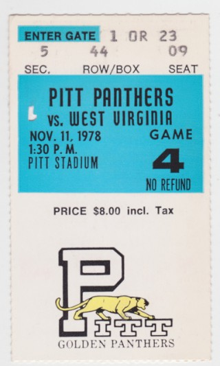 1978 NCAAF West Virginia at Pittsburgh stub