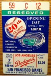 1977 Giants at Dodgers Opening Day
