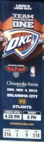 2012-13 Oklahoma City Thunder Ticket Entry