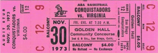 1973 ABA Squires at Conquistadors ticket stub stub