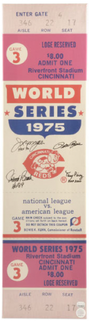 1975 World Series Game 3 ticket Red Sox at Reds