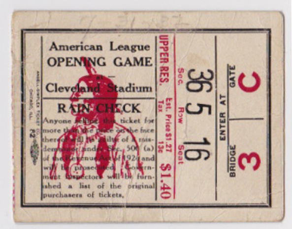 Cleveland Indians Ticket Stubs
