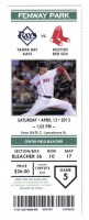 2013 MLB Rays at Red Sox ticket stub