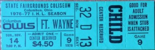 1976 IHL Komets at Owls ticket stub stub
