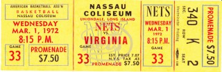 1972 ABA Virginia Squires at New York Nets stub