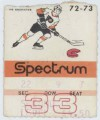 1973 NHL Flames at Flyers ticket stub