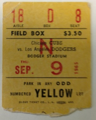 1965 Cubs at Dodgers Sandy Koufax perfect game