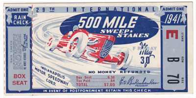 1941 Indianapolis 500 Ticket Stub