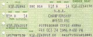 NWA Wrestling - Civic Arena - Oct. 24, 1986 stub