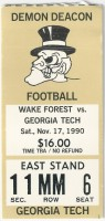 1990 NCAAF Georgia Tech at Wake Forest