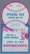 1960 Corning Red Sox ticket stub vs Elmira Pioneers