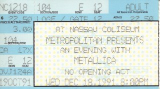 Metallica - Nassau Coliseum - Dec. 18, 1991 stub
