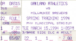 Spring training - Brewers at A's stub