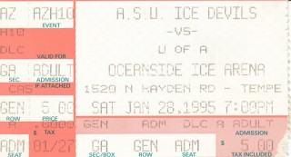 Hockey - Arizona at ASU - Jan. 28, 1995 stub