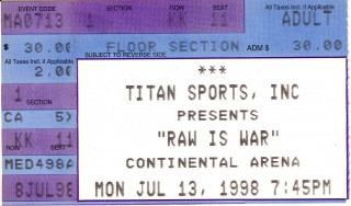 WWF Raw - July 13, 1998 stub