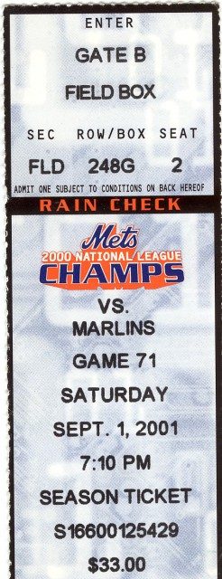 MLB - Marlins at Mets - Sept. 1, 2001 stub