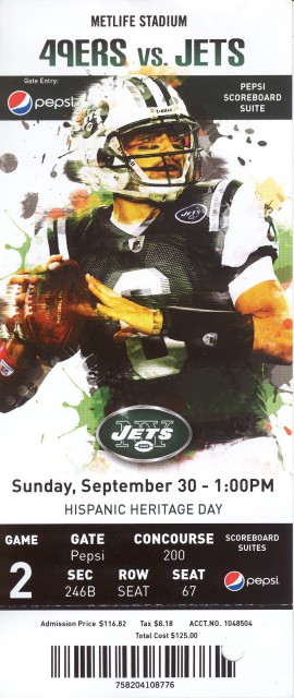 NFL - 49ers at Jets - Sept. 30, 2012 stub