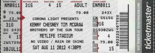 2012 Brothers of the Sun Tour stub