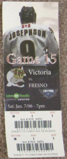 2006 ECHL Fresno Falcons at Victoria Salmon Kings stub