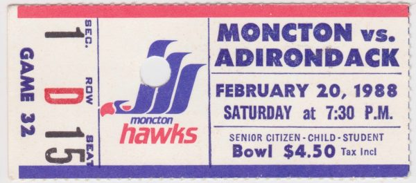 1988 Moncton Hawks ticket stub vs Adirondack for sale