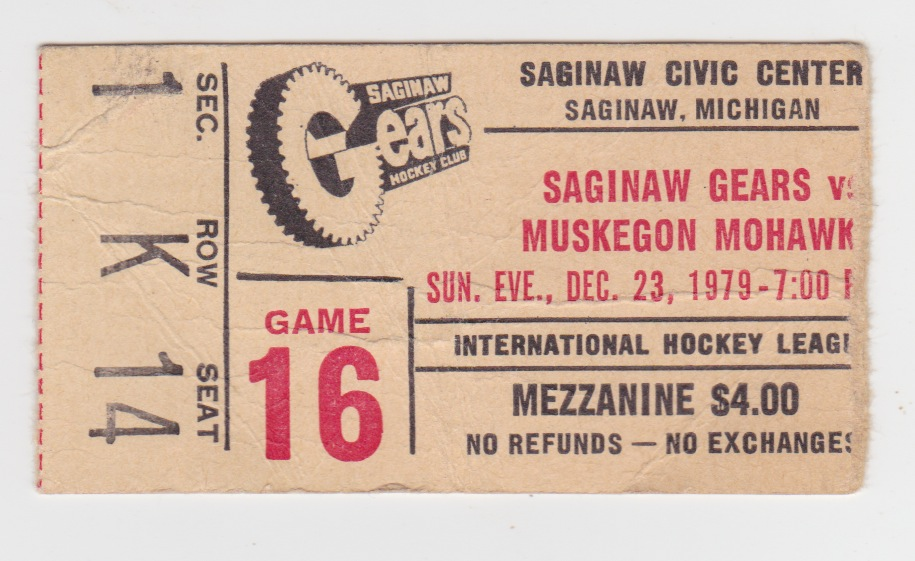 1979 IHL Muskegon Mohawks at Saginaw Gears stub