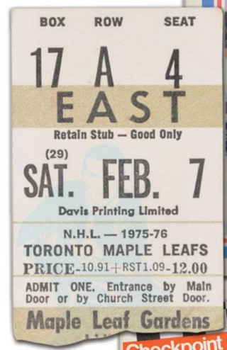 1976 Bruins at Maple Leafs Sittler 10 pts stub