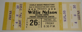 1981 Willie Nelson Selland Arena stub