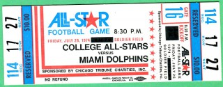1974 NCAAF All Stars vs Dolphins at Soldier Field stub