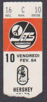 1984 AHL Sherbrooke Jets unused ticket vs Hershey
