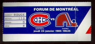 1985 NHL Montreal Canadiens at Quebec Nordiques stub
