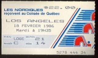 1986 NHL Los Angeles Kings at Quebec Nordiques stub