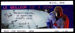 1990 NHL Playoffs Canadiens at Nordiques stub