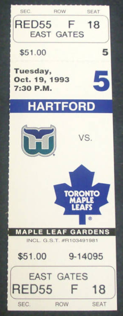 1993 Whalers at Maple Leafs stub