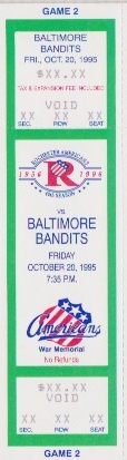 1995 AHL Baltimore Bandits at Rochester Americans ticket stub