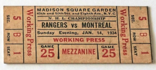 1934 Canadiens at Rangers Working Pass