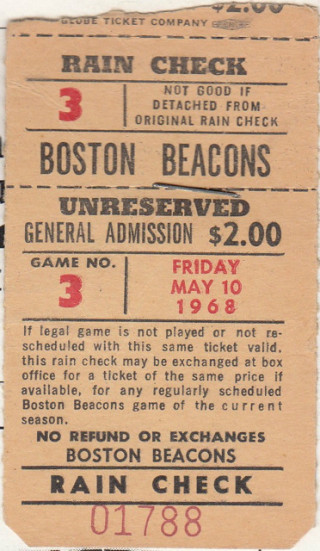 1968 NASL Atlanta Chiefs at Boston Beacons ticket stub