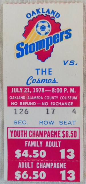 1978 NASL New York Cosmos at Oakland Stompers Ticket Stub 10